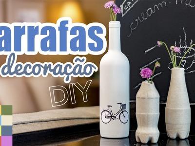 DIY - Garrafas Decoradas + Garrafas de Concreto