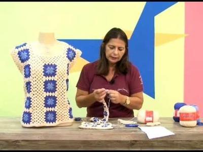 Blusa em quadradinhos de crochê - Cristina Amaduro