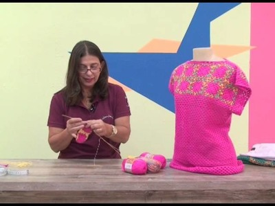 Blusa rosa em quadradinhos de crochê - Cristina Amadaruo
