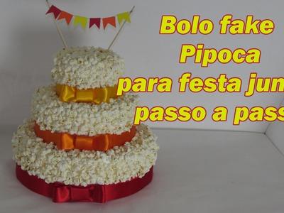 Bolo fake PIPOCA para festa junina