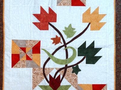 Panô.painel Folhas de Outono em patchwork e apliquê - Maria Adna Ateliê - Cursos de patchwork