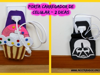 Porta Carregador de celular - Cupcake e Star Wars -  caixa de sapato