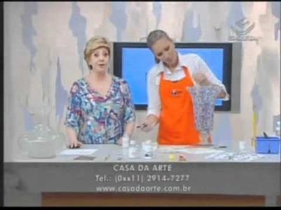Vaso de vidro com decoupage e craquelê parte 2   Manhã Gazeta