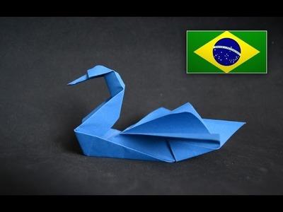 Origami: Cisne - Instruções em português PT BR