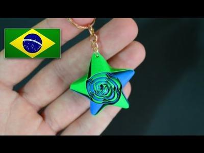 Origami: Estrela de Palha para Chaveiro - Instruções em português PT BR