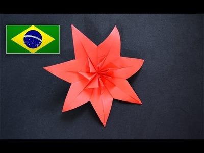 Origami: Flor de 7 pétalas - Instruções em português PT BR