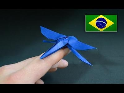 Origami: Libélula - Instruções em português PT BR
