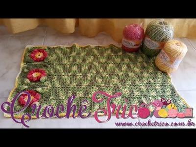 Crochê  - Tapete Flor Puff (com Barroco) - Parte 01.03