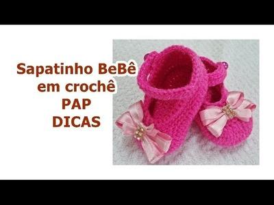 Diy - Sapatinho para Bebê em Crochê RN - Nº5 - Dicas - Pés Direito. Esquerdo - Graça Tristão