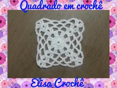 Quadrado simples  em crochê # Elisa Crochê
