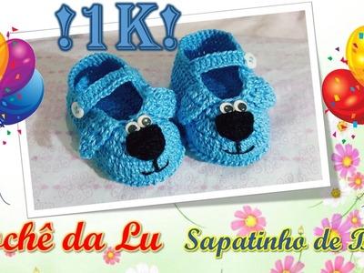 Sapatinho de Bebê em Crochê - Comemorativo aos 1000 Inscritos