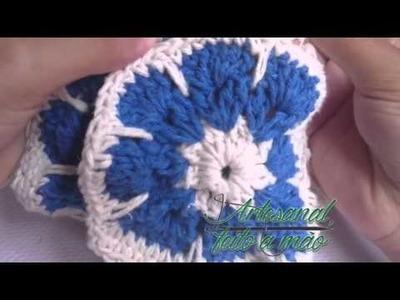 Tapete Retangular com flores africana em croche