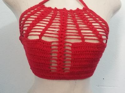 Top de crochê sensação vermelho 2 Parte