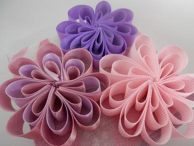 Flor de fita - Artesanato - Passo a passo - Tutorial - Diy