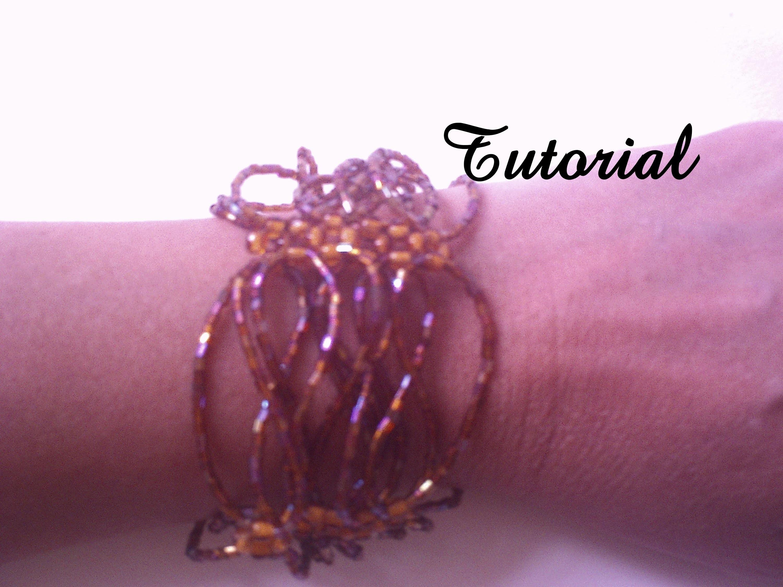 Bracelete com vidrilhos.Tutorial com esquema. Bracelet with glass beads. Tutorial with scheme