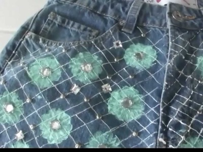 DIY: Jeans+Floral+Tachinhas+Pedrarias (Floral Denim Christopher Kane para J. Brand inspired)