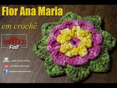 Flor de Crochê Ana Maria - Barroco Fast - Professora Simone