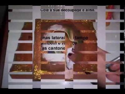 DECOUPAGE COM RENDA FRANCESA E TEXTURA