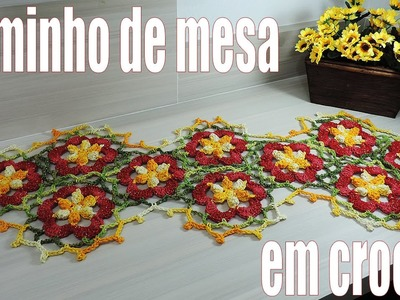 "Caminho de mesa - Motivo de Crochê Flor Multi ""Soraia Bogossian"""
