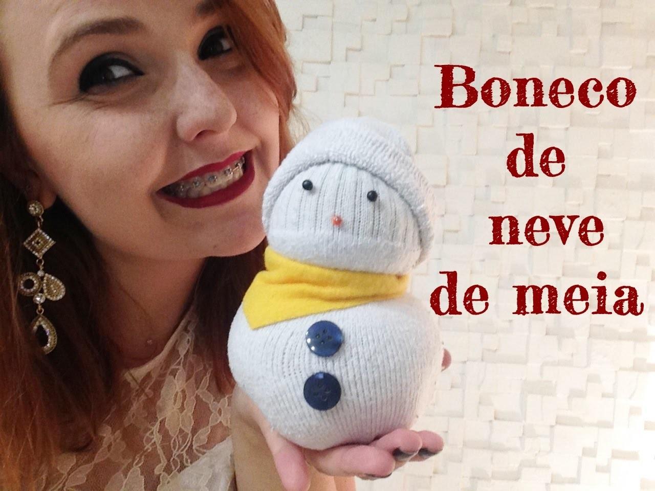 DIY NATAL - Boneco de neve feito com meia