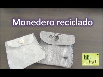 Monedero reciclado. bolsas fundidas