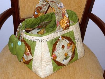 Patchwork Maria Adna - Cesto (cesta) de costura em patchwork - Técnica patchwork foundation