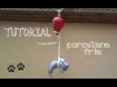 Gatito atado a globo •PORCELANA FRÍA•