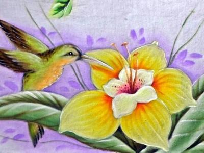 Pintando - Beija Flor e Lírio - No Tecido