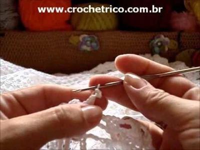 CROCHE - Bolero Branco - Tam.: P - Parte 07.07 (Sem Som)