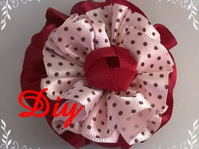 Flor de fita franzida DIY \ Ruffled ribbon flower DIY