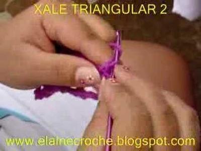 CROCHE - XALE TRIANGULAR EM CROCHE - 2ª PARTE