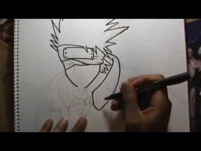 Dibujando a KAKASHI (Naruto) a lápiz en vivo