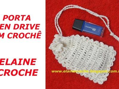 CROCHE - PORTA PEN DRIVE EM CROCHE - BARBANTE SÃO FRANCISCO