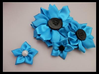 Flor de fita - Simples - Passo a passo - Artesanato