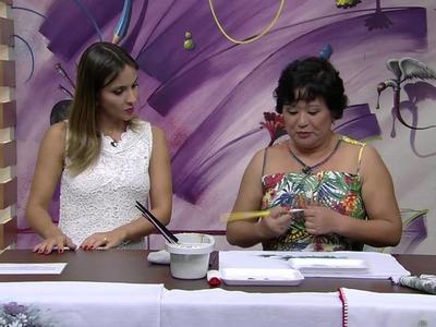 Mulher.com 15.01.2015 Crisantemos com tinta puff por Julia Passerani Parte 1
