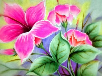 Como Pintar - Hibiscos Cor de Rosa - Pintura em Tecido