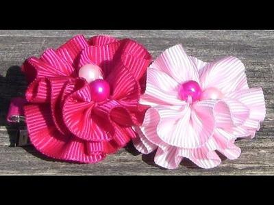 D.I.Y. Fivela boca de jacaré com Flores onduladas   - Fabric flower tutorial