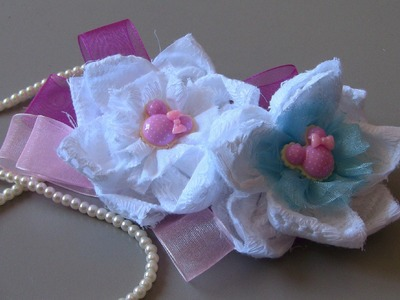 D.I.Y. Flor de Tecido com laço de organza  - Fabric flower -tutorial