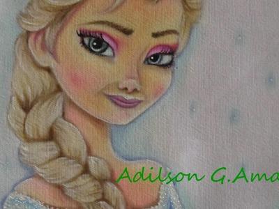 Pintando Elsa  - Frozen - Pintura em Tecido