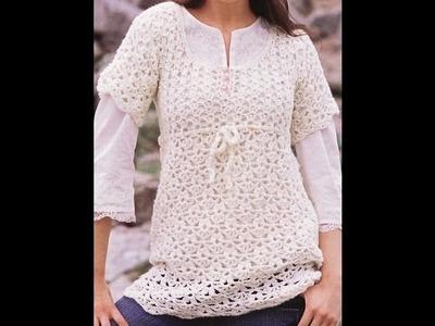 Túnica Blanca Calada a Crochet Fácil