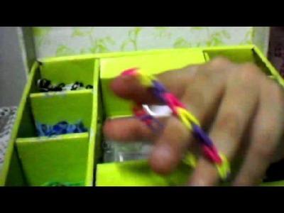 Como eu organizo meus elásticos rainbow loom