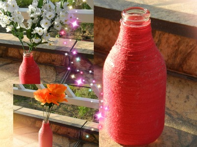 DIY: Garrafinha decorada com barbante (transformando-a em vaso de flores)