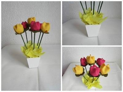 DIY -  Tulipa feito de feltro e tulipa