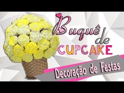 Como Fazer Buquê. Arranjo de Cupcakes (DIY)