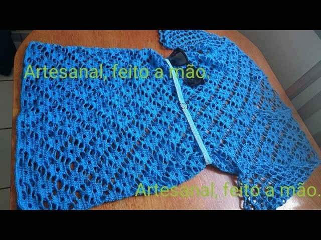 Vestido azul adulto feito em croche parte 5