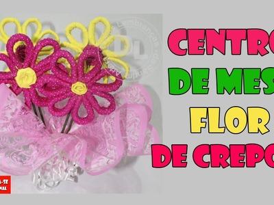DIY Centro de mesa para festas com flores de crepom- Crepe paper flower