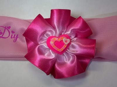 Flor de fita de cetim tingida rosa \ Satin ribbon flower dyed