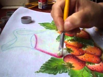 Pintura de jarra com suco de morangos