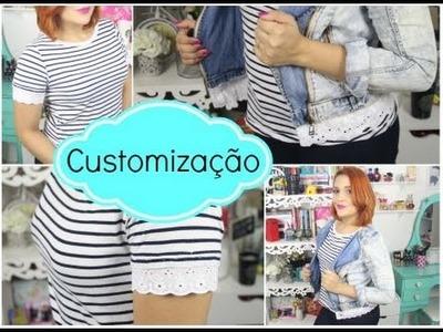 Customização: Com Jaqueta Jeans e Blusa Listrada. DIY - por Raquel Guimarães
