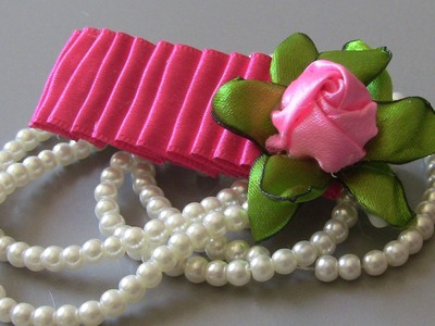 Fivela com rosa de cetim-Flower on satin ribbons